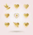 golden abstract hearts icons set with sun beams vector image vector image