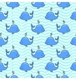Seamless pattern with whale on blue ocean vector image