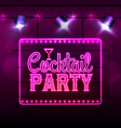 Neon sign Cocktail bar vector image