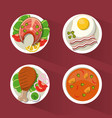 colorful background with dish foods with chicken vector image