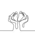 hands holding baby foot - protection symbol vector image