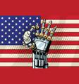 robot ok gesture the us flag broken bandaged vector image