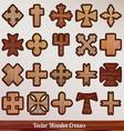 Set crosses wooden vector image