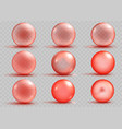 set of transparent and opaque red spheres vector image