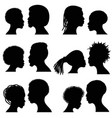 African female and male face silhouettes vector image