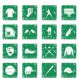baseball icons set grunge vector image