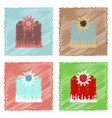 collection of flat shading style icons fence and vector image