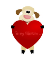 Cheerful lamb with a red heart vector image vector image