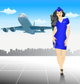 Beautiful stewardess at the airport vector