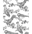 Seamless pattern with hand drawn ornate birds on vector image