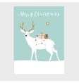 Cute Christmas greeting card invitation Reindeer vector image