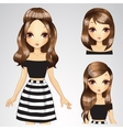 Hair Set Girl In White Black Dress vector image