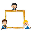kids on the wood frame with roots and leaf vector image