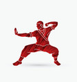 kung fu action ready to fight vector image
