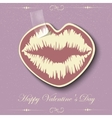 Paper Hearts Lips kiss sticker vector image