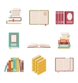 Set of nine book icons in flat design style vector image