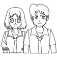 students girl and boy anime cartoon outline vector image