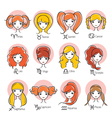 Woman With Twelve Zodiac Signs Icons Set vector image