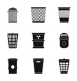 Rubbish bin icons set simple style vector image