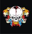 tiger rebel skull vector image vector image