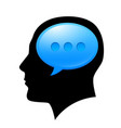 the man in the head with sms for design on white vector image vector image