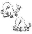 Set of hand drawn octopus isolated on white vector image
