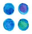 Set of watercolor blue circles vector image vector image