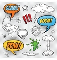 Collection of multicolored hand drawn comic sound vector image