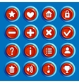 Cartoon red round buttons vector image