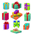 colorful gift set different gift boxes in cartoon vector image