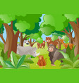 different wild animals in the forest vector image