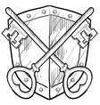 Doodle shield keys safe secure vector image
