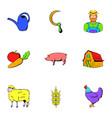 Farmer icons set cartoon style vector image