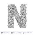 letter n symbol of white leaves vector image