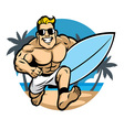 Muscle body surfer running at the beach vector image
