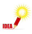 Pencil and light bulb vector image