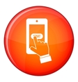 Playing games on smartphone icon flat style vector image