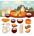 Set of healthy dairy products vector image