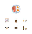flat icon life set of boardroom beer with chips vector image