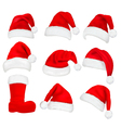 red santa hats and boot vector image