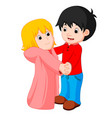 cartoon young boy and girl dancing vector image
