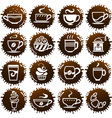 cup icons on coffee blots vector image