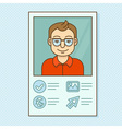 man profile - resume business card with portrait vector image