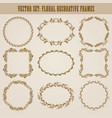 Set of gold decorative borders frame vector image