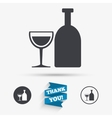 Alcohol sign Drink symbol Bottle with glass vector image