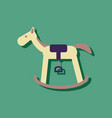 flat icon design rocking horse in sticker style vector image