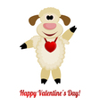 Cheerful lamb with a red heart on her neck vector image vector image