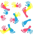 colorful hand prints and foot vector image