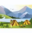 flat camping girl traveler vector image