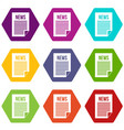 news newspaper icon set color hexahedron vector image